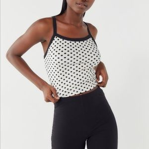 Urban Outfitters | Velvet Polka Dot Crop Top